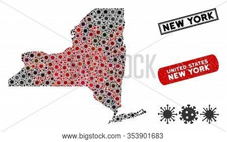 Coronavirus Collage New York State Map And Rubber Stamp Seals. New York State Map Collage Created Wi