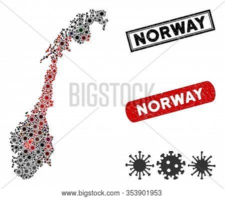 Coronavirus Collage Norway Map And Distressed Stamp Seals. Norway Map Collage Formed With Randomized