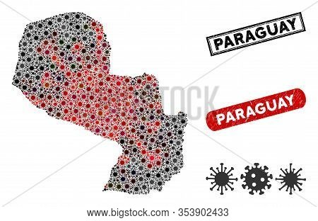 Coronavirus Collage Paraguay Map And Grunge Stamp Seals. Paraguay Map Collage Constructed With Scatt