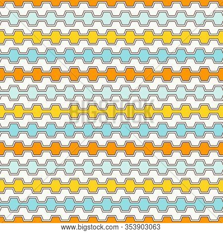 Summer Colors Seamless Pattern With Battlement Curved Lines. Repeated Geometric Figures Wallpaper. M