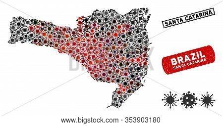 Coronavirus Collage Santa Catarina State Map And Rubber Stamp Watermarks. Santa Catarina State Map C
