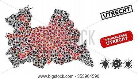 Coronavirus Collage Utrecht Province Map And Distressed Stamp Seals. Utrecht Province Map Collage Co