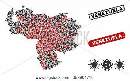 Coronavirus Collage Venezuela Map And Rubber Stamp Watermarks. Venezuela Map Collage Designed With R