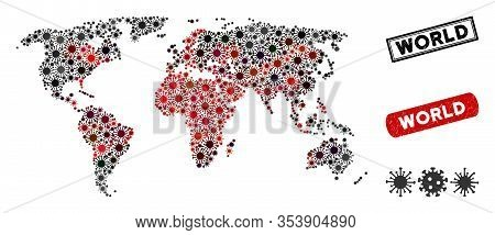 Coronavirus Collage World Map And Distressed Stamp Watermarks. World Map Collage Composed With Rando
