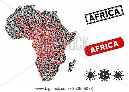 Coronavirus Collage Africa Map And Corroded Stamp Watermarks. Africa Map Collage Created With Random