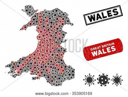 Coronavirus Collage Wales Map And Rubber Stamp Seals. Wales Map Collage Created With Scattered Red A