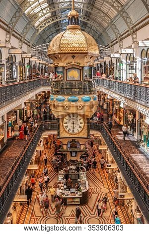 Sydney, Australia - December 11, 2009: Wide View Iinside Queen Victoria Building Shopping Mall With