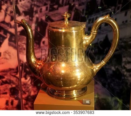 New Orleans, Louisiana, U.s.a - February 4, 2020 - The German Nazis Silver Teapot Used During World