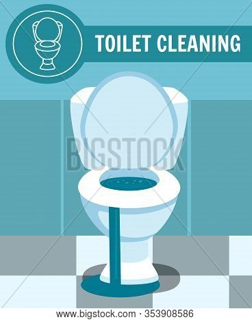 Broken Clogged Toilet Bowl Overflow Leakage Vector Illustration. Toilet Cleaning Bathroom Banner. Pr