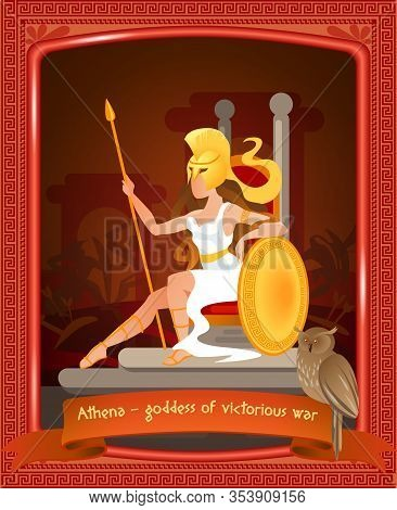 Flat Cartoon Athena Goddess Of Victorious War. Vector Illustration On Color Background. In Foregroun