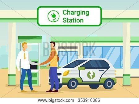 People On Charging Station. Men Shake Hands On Charging Station. Vector Illustration. Self-service A