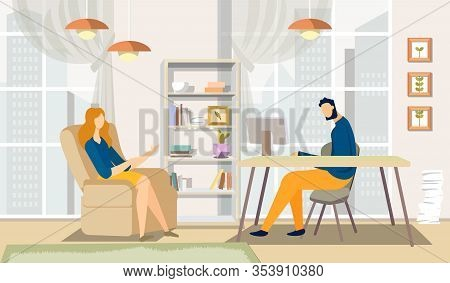 Man And Woman Discussion In Office. Office Interior. Business Meeting. Vector Illustration. Teamwork