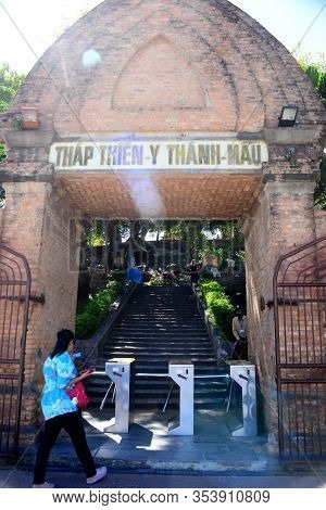 Nha Trang, Vietnam - 28 February 2020 : Tourists Are Entering The Passageway Door At Ponagar Temple
