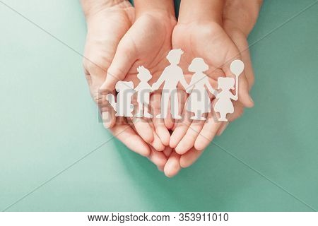 Adult And Children Hands Holding Paper Family Cutout, Family Home, Adoption, Foster Care, Homeless S