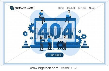 404 Error Page Not Found Concept With Group Of People Trying To Fix Error On Website Page. Can Use F