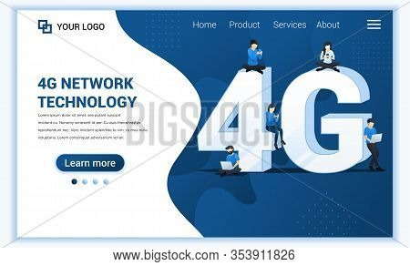 4g Network Technology Concept. Internet Systems Telecommunication Service. People Sitting And Standi