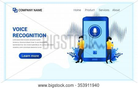 Voice Recognition, Voice Security Identification With People Near Smartphone. Digital Voice Assistan