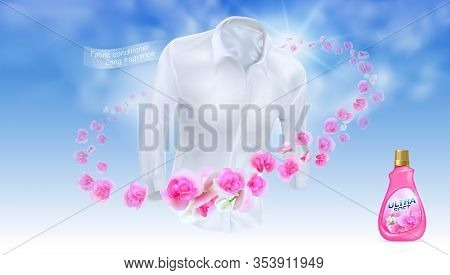Softener, Long Lasting Fragrance. Use A White Shirt On A Blue Sky Background Surrounded By Pink Flow