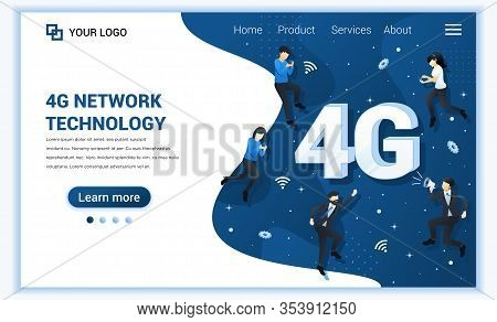 4g Network Technology Concept. Internet Systems Telecommunication Service. People Using High Speed W