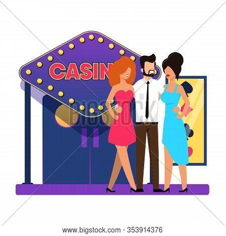 Main Entrance To Gaming Casino, Cartoon Flat. Bearded Man Hugs Two Beautiful Women, Amid Entrance To