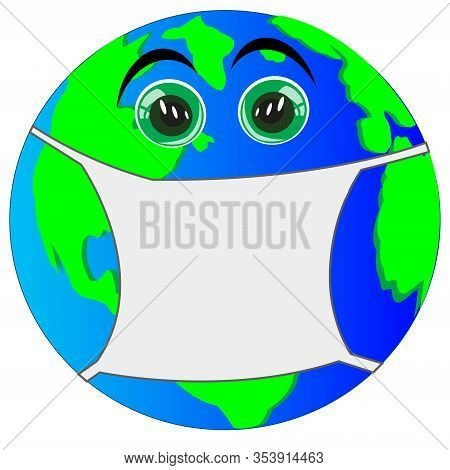Cartoon Of The Planet Land In Defensive Armband From Virus