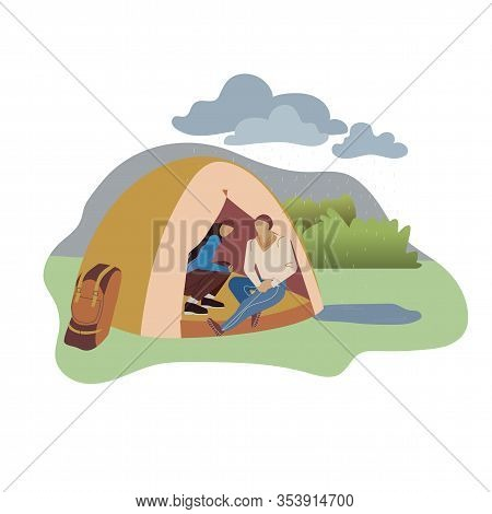 Couple Sitting In Tent Flat Vector Illustration. Male, Female Backpackers Cartoon Characters Hiding