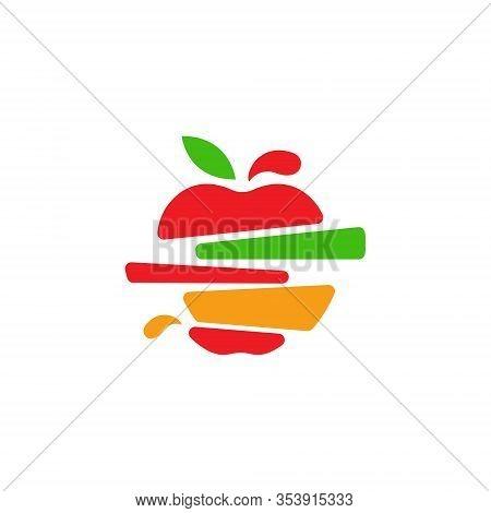 Fruits Splash Slashes Cut Apple Strawberry Orange Melon Symbol Logo