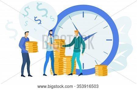 Finances Management, Banking Vector Illustration. Investors Give Businessman Golden Coins Cartoon Ch