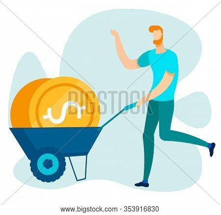Cartoon Man Character Running With Flat Trolley Cart Filled Gold Dollar Coins. Office Worker, Busine