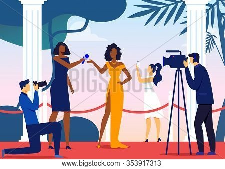 Famous Celebrity Interview Vector Illustration. Young Movie Star, Reporter And Paparazzi Cartoon Cha