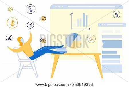 Successful Business Woman, Freelancer Satisfied With Finance Growth Shown On Diagram On Computer Dis