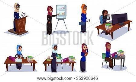 Cartoon Woman In Hijab Arabian Islamic Religious Dress Vector Illustration. Female Arab Businesswoma