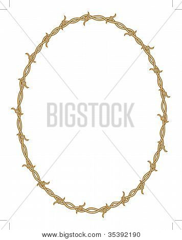 Barbed Wire Border Oval Clip Art