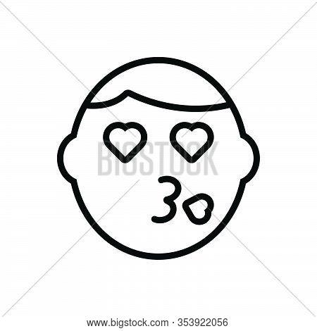 Black Line Icon For Kiss Face Caricature Emoticon Emotion Feel Funny Joyful Love