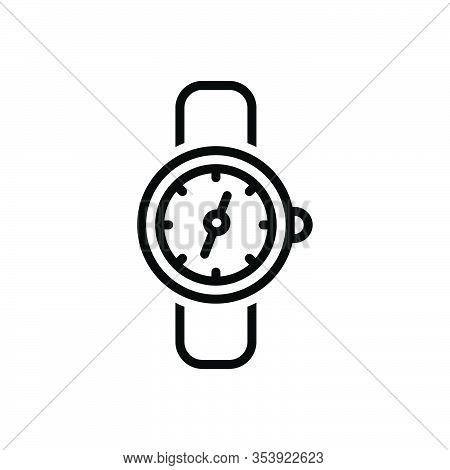 Black Line Icon For Watch Clock Timer Timepiece Wristwatch Horologe Stopwatch  Analog Watch