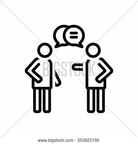 Black Line Icon For Talk Gossip Chatter Conversation Patter Jabber Communication