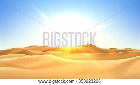 Realistic Desert Landscape With Sunshine. Beautiful View On Realistic Sand Dunes With Sunset. 3d Vec