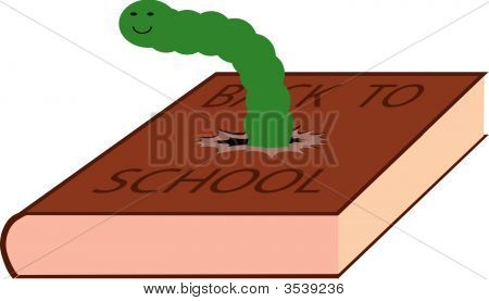 Vector Illustration Of Caterpillar Eating Textbook