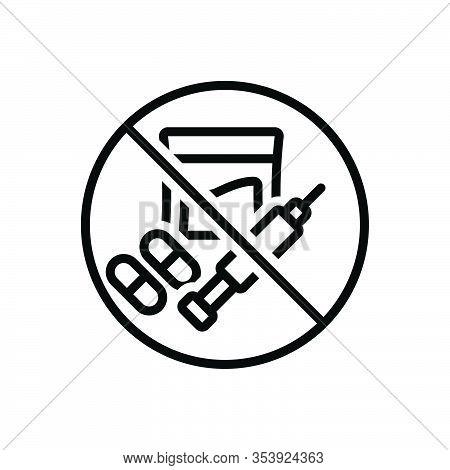 Black Line Icon For Illegal Banned Criminal Illegitimate Unlicensed Illicit Prohibited Unlawful Wron