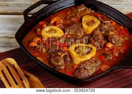 Beef Stew Made From Shank Bone In, Vegetable, Wine And Broth.