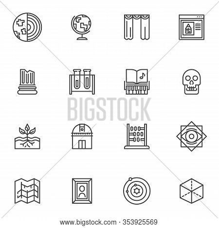 Science Line Icons Set. Knowledge Linear Style Symbols Collection, Education Outline Signs Pack. Vec