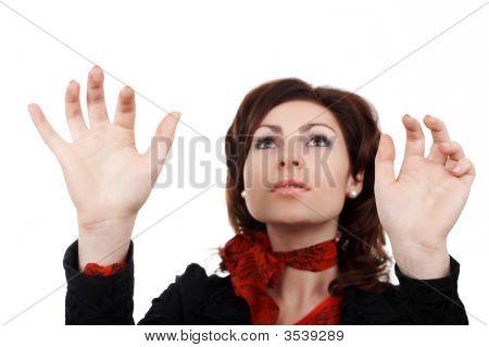 Woman Printing Something Imaginery