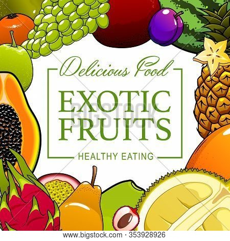 Tropical Fruits And Farm Garden Natural Food Poster. Vector Juicy Exotic Multifruit Pineapple, Water