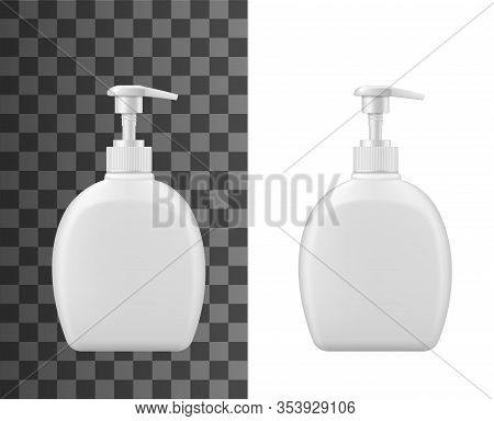 Liquid Soap Plastic Bottle Dispenser With Pump. Vector Isolated Realistic 3d Mockup Template Of Whit