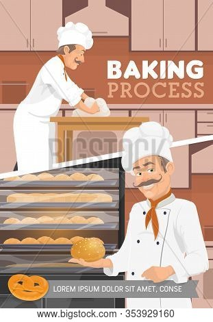 Baker And Bakery Kitchen, Bread And Desserts Baking Process. Vector Baker Man In Chef Hat Kneading D