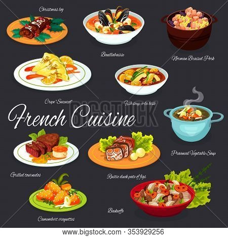French Cuisine Food Dishes, France Traditional Restaurant Menu Gourmet Meals. Vector French Bouillab