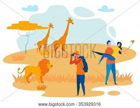 Photographer And Tourists Flat Vector Characters. African Safari, Wilderness Area Tour. Africa Reser