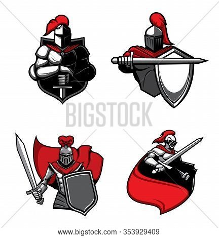 Knight Warrior With Sword, Helmet And Shield, Red Cape And Medieval Armour Isolated Vector Icons. Sp