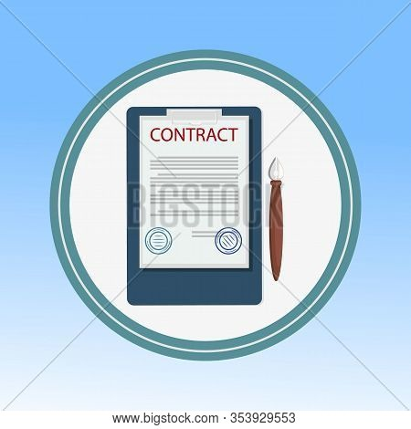 Contract, Legal Document Flat Vector Illustration. Official Statement With Stamps, Corporate Documen
