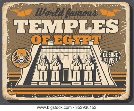 Ancient Egypt Temples, Pharaoh Pyramids And Historic Monuments Landmark Tours Vintage Poster. Vector
